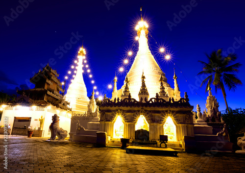 Deurstickers Bedehuis Phra That Doi Kong Mu Temple the most favourite place for tourist visit at Mae Hong Son Province, north of Thailand.
