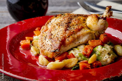 Photo Spinach Stuffed Chicken with Butternut Squash