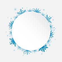 White Circle Snowflakes New Year Or Christmas.