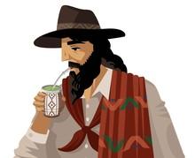 Gaucho Drinking Yerba Mate Gre...