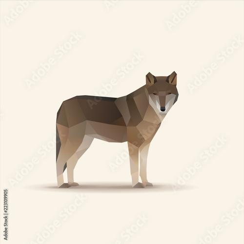 Naklejka premium Ilustracja wektorowa wielokątne oglądania wilka