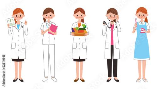 働く女性 イラスト 医療と食 Canvas Print