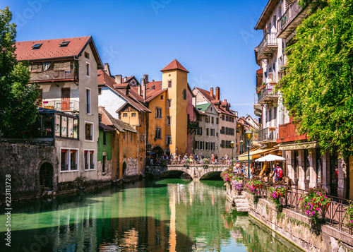 Annecy old town cityscape and Thiou river view and bridge