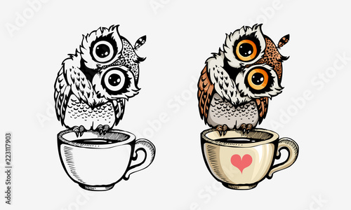 Deurstickers Uilen cartoon Cute owls collection coloring and line isolated on white