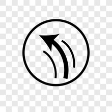 Turn Left Only Vector Icon Isolated On Transparent Background, Turn Left Only Logo Design