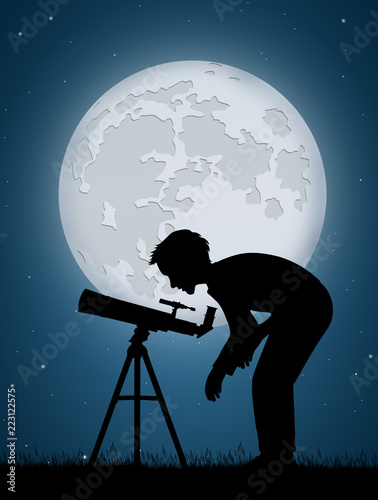 man look the moon in the telescope