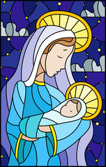 NaklejkaIllustration in stained glass style on biblical theme, Jesus baby with Mary , abstract figures on starry sky background with clouds, rectangular image