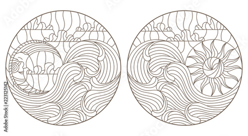 Fotografie, Obraz  Set of contour illustrations of stained glass Windows with moon, sun and waves o