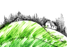 Countryside Landscape. Illustr...