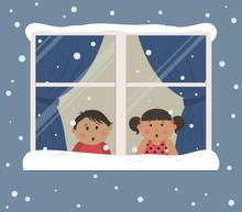 First Snow. Children Looks At ...