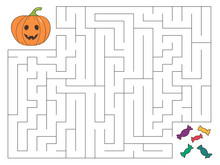 Halloween Maze Game For Kids. Help The Pumpkin Find The Right Way To Candies. Cartoon Style Vector Illustration.