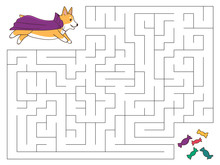 Halloween Maze Game For Kids. Help The Dog Find The Right Way To Candies. Cute Cartoon Welsh Corgi Dressed Up As A Vampire. Vector Illustration