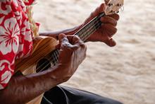 Old Man Hands Playing Hukulele...
