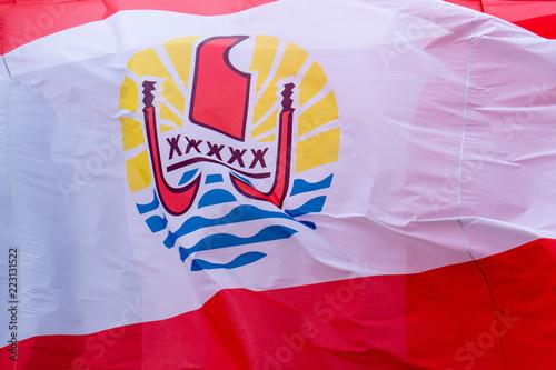 Tuinposter Oceanië french polynesia waving flag in Bora Bora