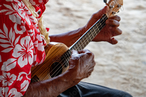 Poster Oceanië old man hands playing hukulele in french polynesia