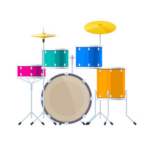 Realistic Percussion Musical Instrument, Drum Set, Sound Barrels, Plates, Wands.