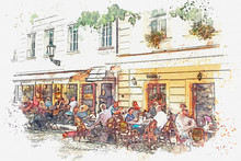 Illustration Of A Street Cafe ...
