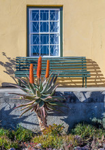 A Green Wooden Bench On A Veranda In Front Of A Window In A Yellow Wall With An Aloe In The Garden Image With Copy Space In Portrait Format