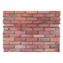 Watercolor Brick Wall Isolated On White Background