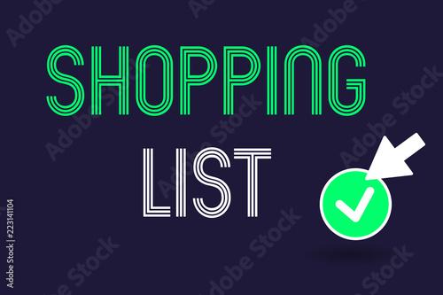 Fotografia  Conceptual hand writing showing Shopping List