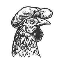 Chicken Bird In Flat Cap Engra...
