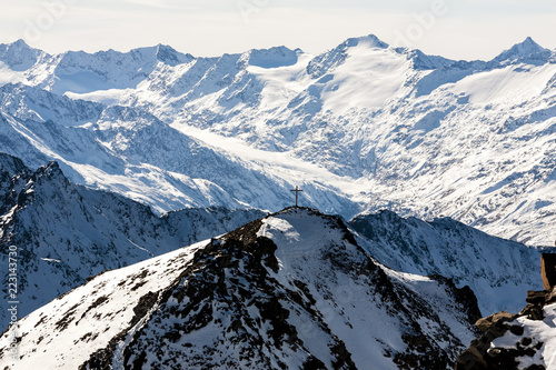 Deurstickers Alpen Beautiful view of the Alps mountains, Austria, Stubai