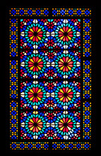 Stained Glass Window In Dolat Abad Garden, Yazd, Iran