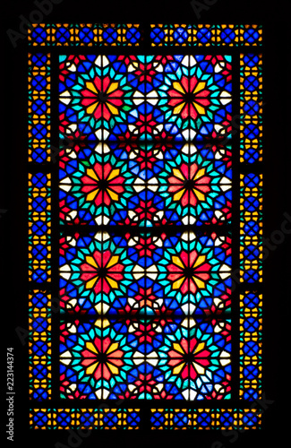 Photo  Stained glass window in Dolat Abad Garden, Yazd, Iran
