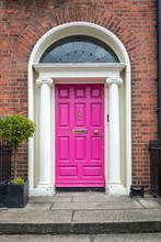 Pink Classic Door In Dublin, Example Of Georgian Typical Architecture Of Dublin, Ireland
