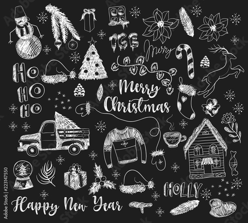 Set of Christmas elements painted chalk on blackboard. Vector. Poster Mural XXL