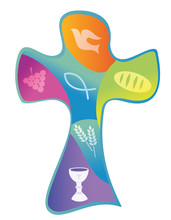 Colorful Christian Cross With Chalice Grapes Bread And Wheat Ear