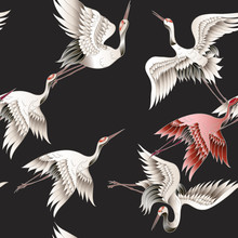 Seamless Pattern With Japanese White Crane In Batik Style. Vector Illustration.