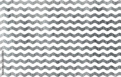 Fotografie, Obraz  Silver painted wavy striped background.