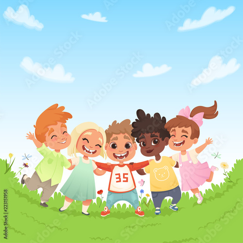 Poster Dogs Group of happy joyful children on a green glade and the background of blue sky with clouds. Vector illustration