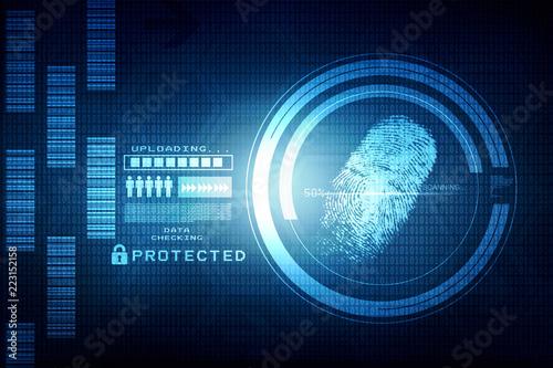 Photo  Fingerprint Scanning Technology Concept 2d Illustration