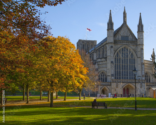 Winchester Cathedral in Autumn,Hampshire ,England. Wallpaper Mural