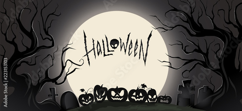 Horizontal dark background with halloween attributes and a big moon. Vector illustration