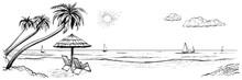 Panoramic Beach View. Vector I...