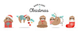 Fototapeta Fototapety na ścianę do pokoju dziecięcego - Cute sloths, funny Christmas illustrations with Santa Claus costumes, hat and scarfs, greeting cards set, banner