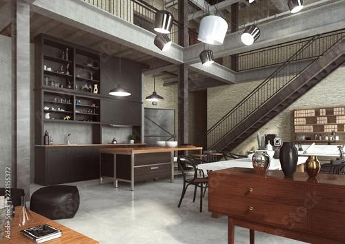Fototapeta Loft Nowoczesne Wnetrze W Industrialnym Stylu Zaprojektowane Jako Mieszkanie O Otwartym Planie Z Kuchnia Jadalnia Pokojem Dziennym