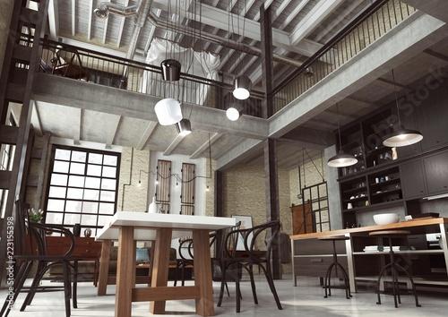 Fototapeta Loft Nowoczesne Wnętrze W Industrialnym Stylu Zaprojektowane Jako Mieszkanie O Otwartym Planie Z Kuchnią Jadalnią Pokojem Dziennym Oraz