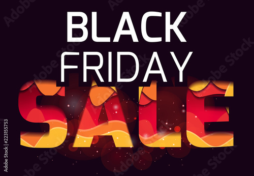 Inscription Of The Black Friday Made Layers Paper Multi Level Ilration Vector Element For Cards Banners Special Offer And Your