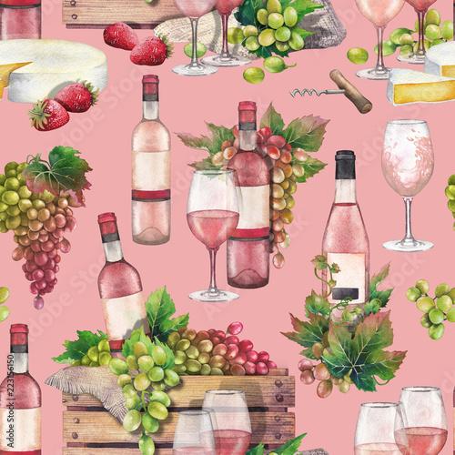 akwarela-pudelko-z-butelki-i-winogron-z-kieliszkow-do-wina-z-przodu