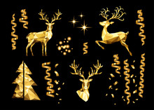 Christmas Collection Of Golden Decorative Design Elements.
