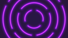 Vector Neon Violet Lighting Tubes In Circular Composition Abstract Realistic Illustration. Minimalist Retro Wave Technology Background