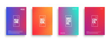 Vector Minimalism Brochure, Cover, Flyer Design Templates With Geometric Halftone Texture And Vibrant Gradients. Conceptual Minimal Abstract Background