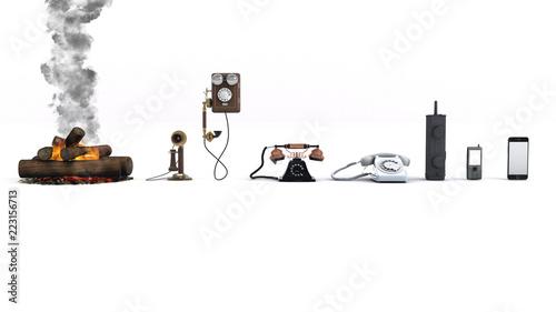 Photographie 3D illustration of Phone evolution