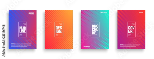 Fotografía  Vector Minimalism Brochure, Cover, Flyer Design Templates with Geometric Halftone Texture and Vibrant Gradients