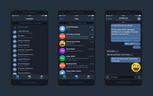 Messaging App WhatsApp Telegram Messenger UI And UX Concept Realistic Vector Mockup In Minimalist Dark Blue Night Flat Theme On Smart Phone Screen. Social Network Design Template