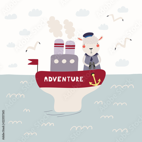 Printed kitchen splashbacks Illustrations Hand drawn vector illustration of a cute funny sheep sailor on a steamboat. Childish ocean landscape with seagulls, clouds, waves. Scandinavian style flat design. Concept for children print.